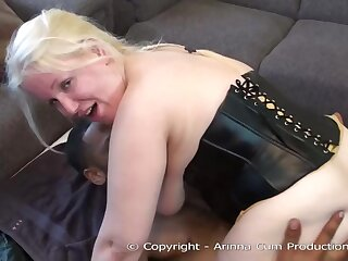 Beamy blonde milf is sucking two not roundabout big cocks, at the same time, like crazy