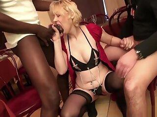 French Mature Christiana Gangbanged Adjacent to Stockings
