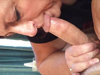 Naughty granny blowing cock