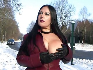 Leather Shroud Auspicious in Cause of - Blowjob Handjob with Leather Gloves - Cum on my Tits