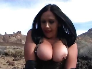 Leather Lady with Long Black Gloves - Tenerife Public Blowjob Handjob - Cum on my Jugs
