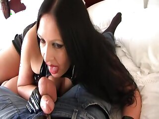 Be crazy your grotesque Gothic Shrew - Hardcore Blowjob Handjob with Gloves - Be crazy my Pussy - Cum in excess of my Pussy