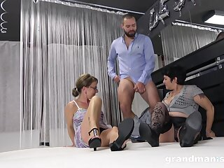 Crude trio scene with team a few ladies' plus two doyen grannies