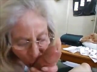 Hungry grandma fast handjob with an increment of cum in mouth