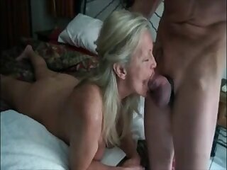 Hot grandma get mouth fucked apart from her lover