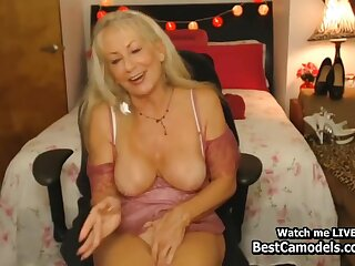 Sexy Flaxen-haired Granny Cums Homemade More than Webcam