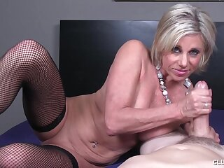 Obese dick stroking action overwrought mature slut Payton Hall with saggy titties