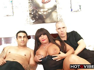 Smoking hot BBW mature milf sucks and fucks 2 young hot guys be fitting of a threesome