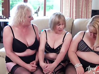 Three of age ladies are carrying-on with one heavy dick with the addition of having it away hard
