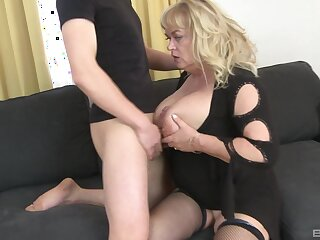 Mature slattern plays with will not hear of large tits and gets ass fucked good