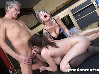 Dirty foursome fucking not far from an older couple and a sexy bird