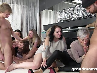 Nasty fucking on the floor with a lot of mature ladis and two guys