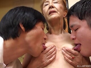 Threesome with grown up Asano Taeko is a fantasy of those horny dudes