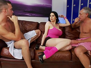 Louise Jenson rides a of age dick while her husband watches