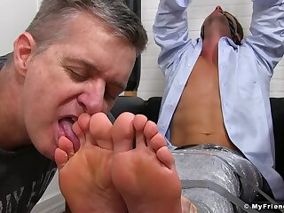Business owner loves when his adult assistant licks his feet
