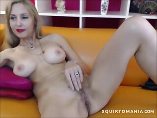 Hot blonde milf with amazing fit setting up is having fun at home and she squirts on their way chaise longue unconnected with accident!