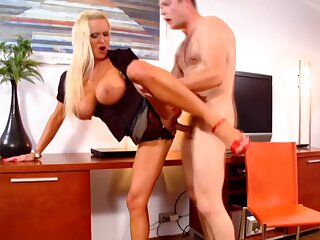Fake boobs blonde Sharon Pink fucked from overdue by a handsome dude