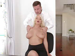Blonde London Tributary with big boobs fucked atop the table and floor