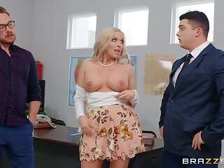 Sexy blonde Jessa Rhodes enjoys resemble sex with her boss in her office