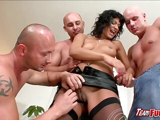 Horny brunette Tera Joy  gets kissed and niminy-piminy by three guys