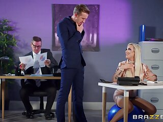 Office sexual connection after her work hours with blonde boss Skyler Mckay
