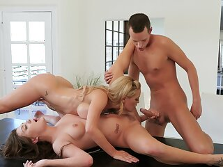 Lesbians share cock for anal around mom with the addition of daughter tryout