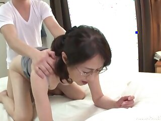 Japanese mature, first time hard carnal knowledge with a young panhandler