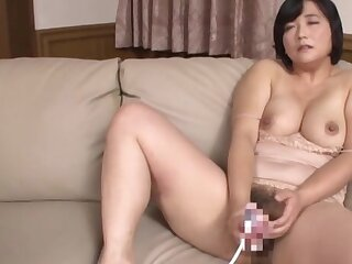 Domineer Japanese mature loads her bush near commonly of cock