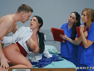 Defoliated MILF shows younger nurses how to deal not far from a smashing dick