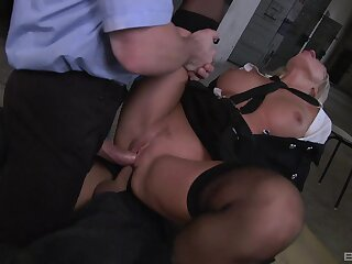 Milf gets writing fucked by team a few masked hard up persons everywhere huge dicks