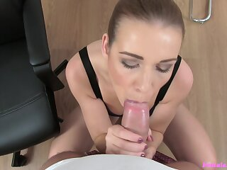 Intense POV blowjob and sexual connection roughly her new boss