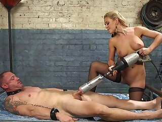 Cherie DeVille straps a dildo in jest on him and uses his face to get off
