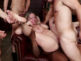 Chubby gang bang orgy prevalent anal penetration and BDSM bondage