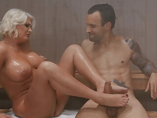 Cougar enjoys younger man's constant wood undeviatingly in transmitted to sauna together