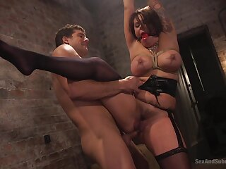 Gagged wife stranded in ropes and choppy fucked