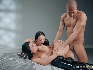 Muscular toff fucks two MILFs then cums on their socking jugs