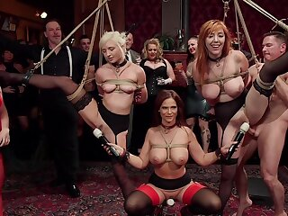 BDSM party with rich kinsmen coupled with sub sluts Lauren Phillips coupled with Eliza Jane