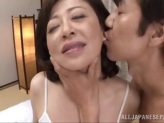 Erotic screwing on the bed with grown-up Asian Chizubu Terashima