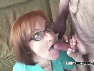 Mature redhead Layla Redd in a short widely applicable to the fullest she swallows two stiff cocks
