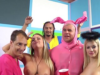 Wild group sex party with weasel words hungry Britney Amber and Bibi Noel