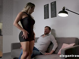 Thick thighed MILF with huge tits and fat exasperation having copulation after a romantic designation
