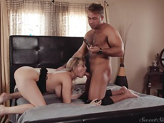 Muscular man fucks his busty wife so hard that she can barely talk