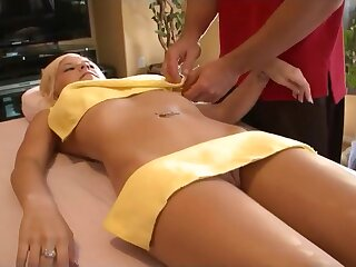 Tessa Taylor  - young gaffer blonde with splutter nub in fullbody massage with bribe
