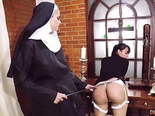 Kinky nun puts her strapon to great use when disciplining a cooky