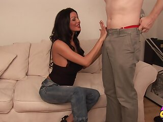 Sexy pitch-dark Tia Layne gives head and gets fucked balls yawning chasm