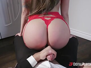 Extremely wild order about bombshell in red lingerie Keiran Lee wanna execrate fucked hard